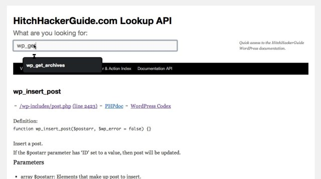 Updated WordPress Documentation API | A HitchHackers guide